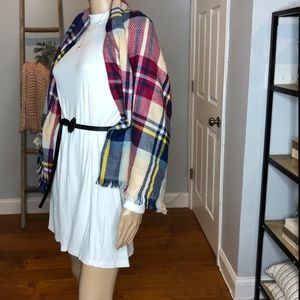 Mock Neck Swing Dress with Cape Scarf